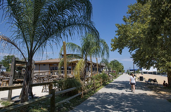 The Colonial Beach boardwalk is shaded by indigenous sycamore trees and specially planted palms. - SCOTT ELMQUIST